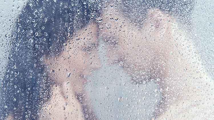 Loving couple in shower