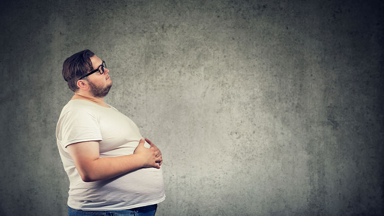 Overweight man with big belly