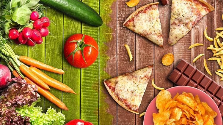 Healthy food vs fatty foods