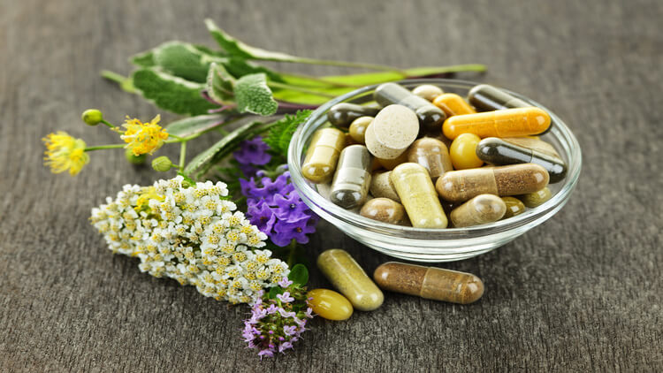 herbal supplements in a bowl